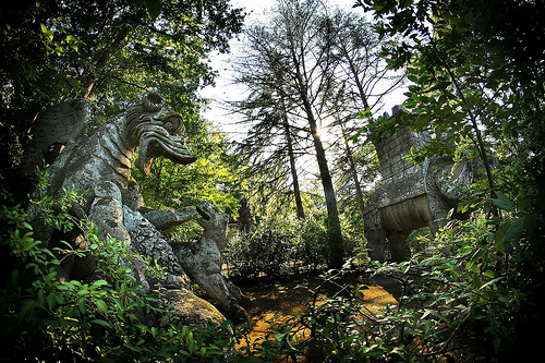 statues in the forest